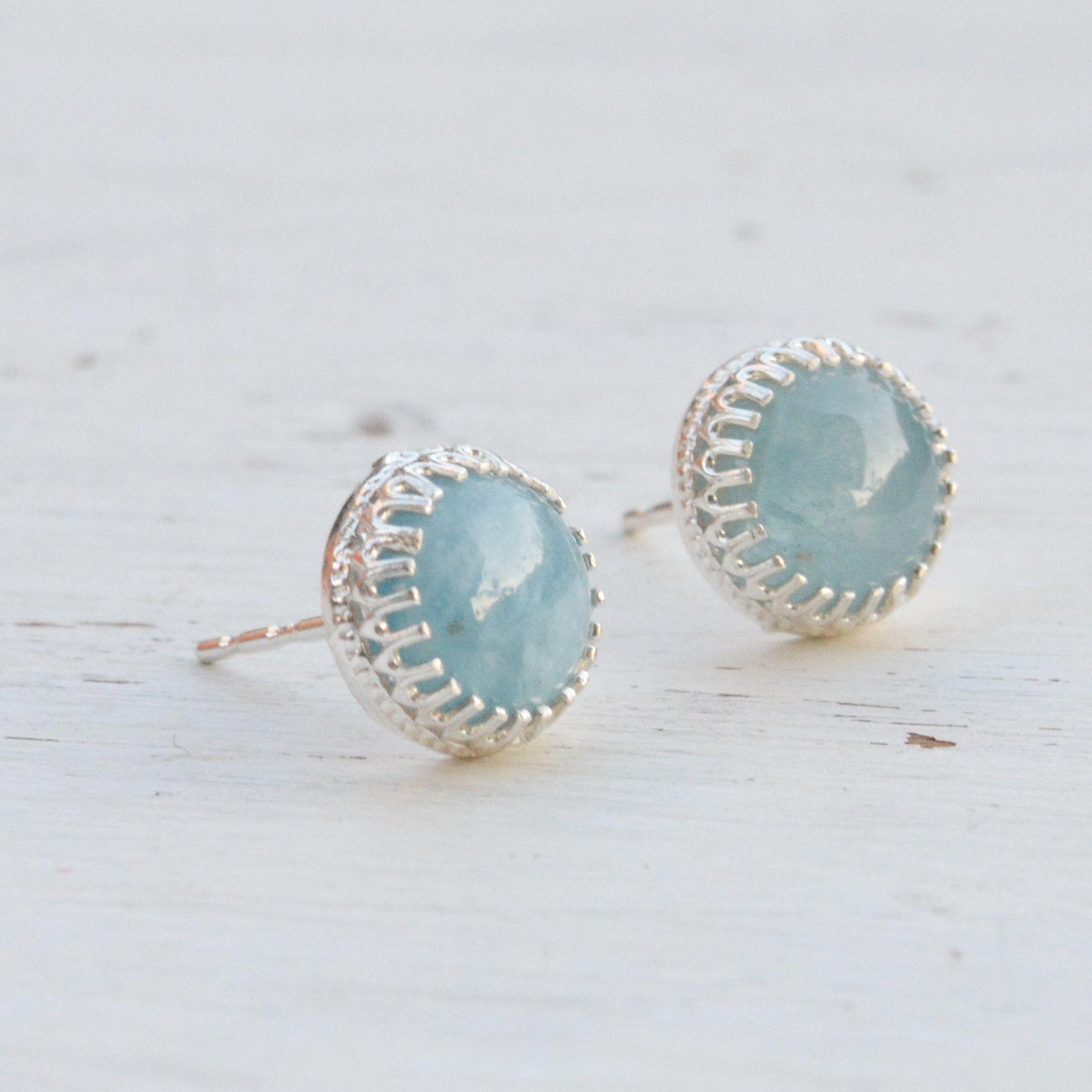 Aquamarine Earrings Sterling Silver Studs