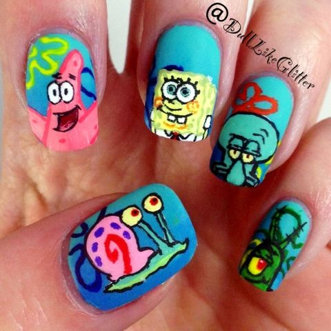 Saving The World One Nail At A Time Oooooooooooh Spongebob Nails Spongebob Nail Art Cute Nail Art Designs