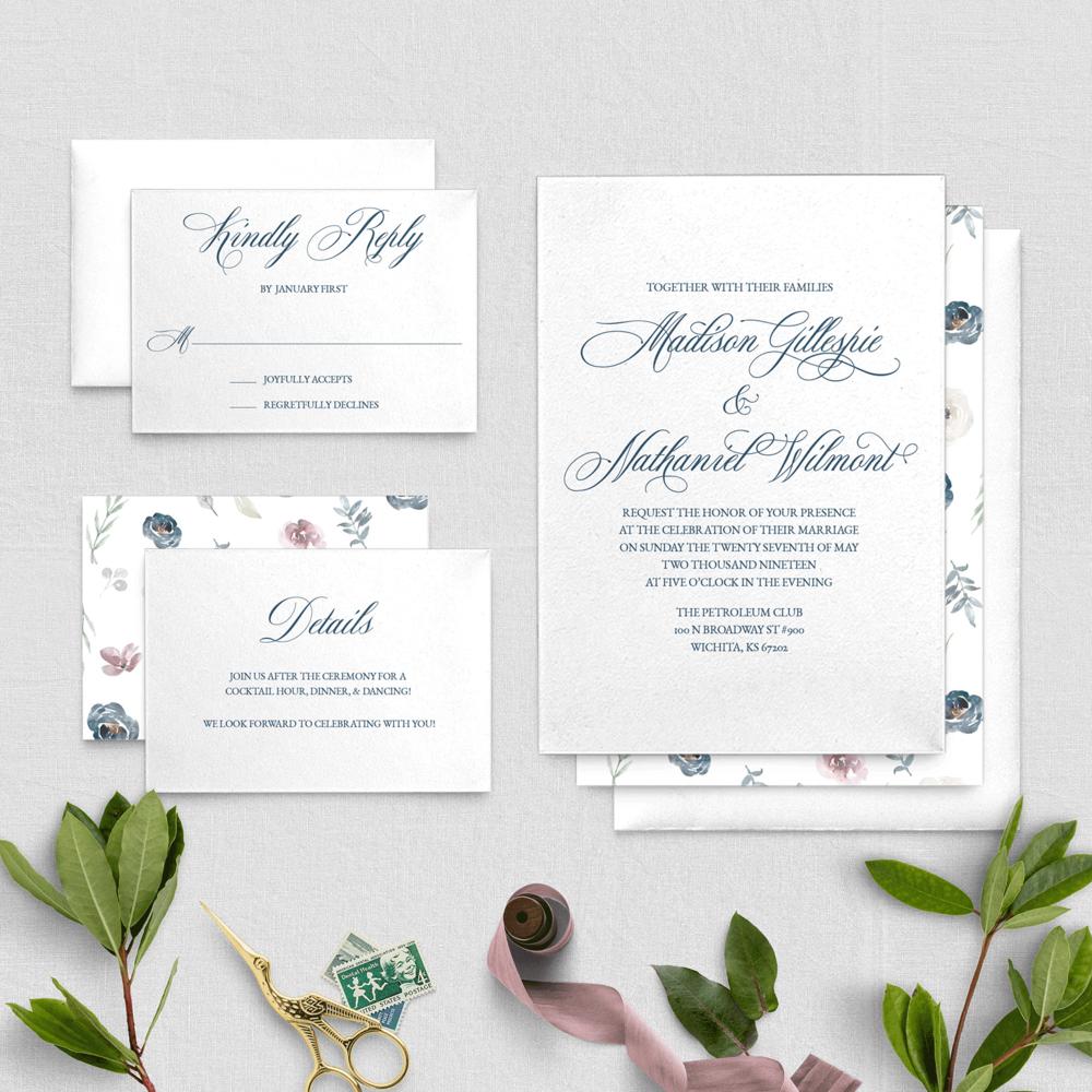 Formal Navy And Plum Floral Pattern Wedding Invitation Digital Download Cz Invitations Affordable Wedding Invitations Wedding Invitations Diy Wedding Invitations
