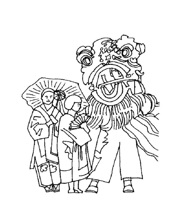 Chinese New Year With Lion Dance Coloring Page