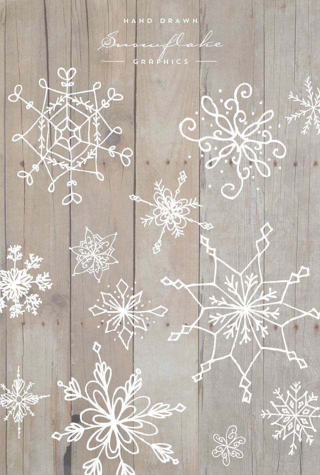 Hand Drawn Snowflake Graphics | Zeichnungen Natur | Pinterest ...