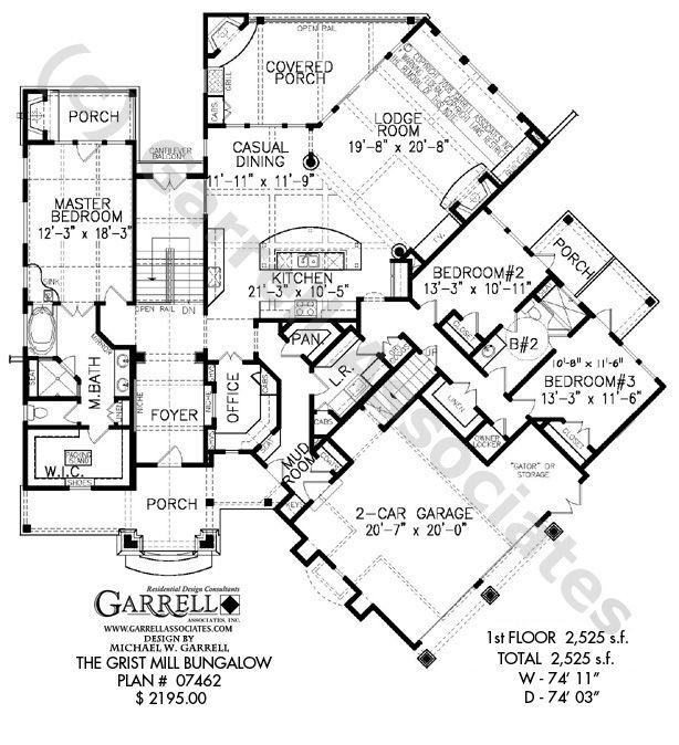 Grist Mill Bungalow House Plan # 07462,1st Floor Plan