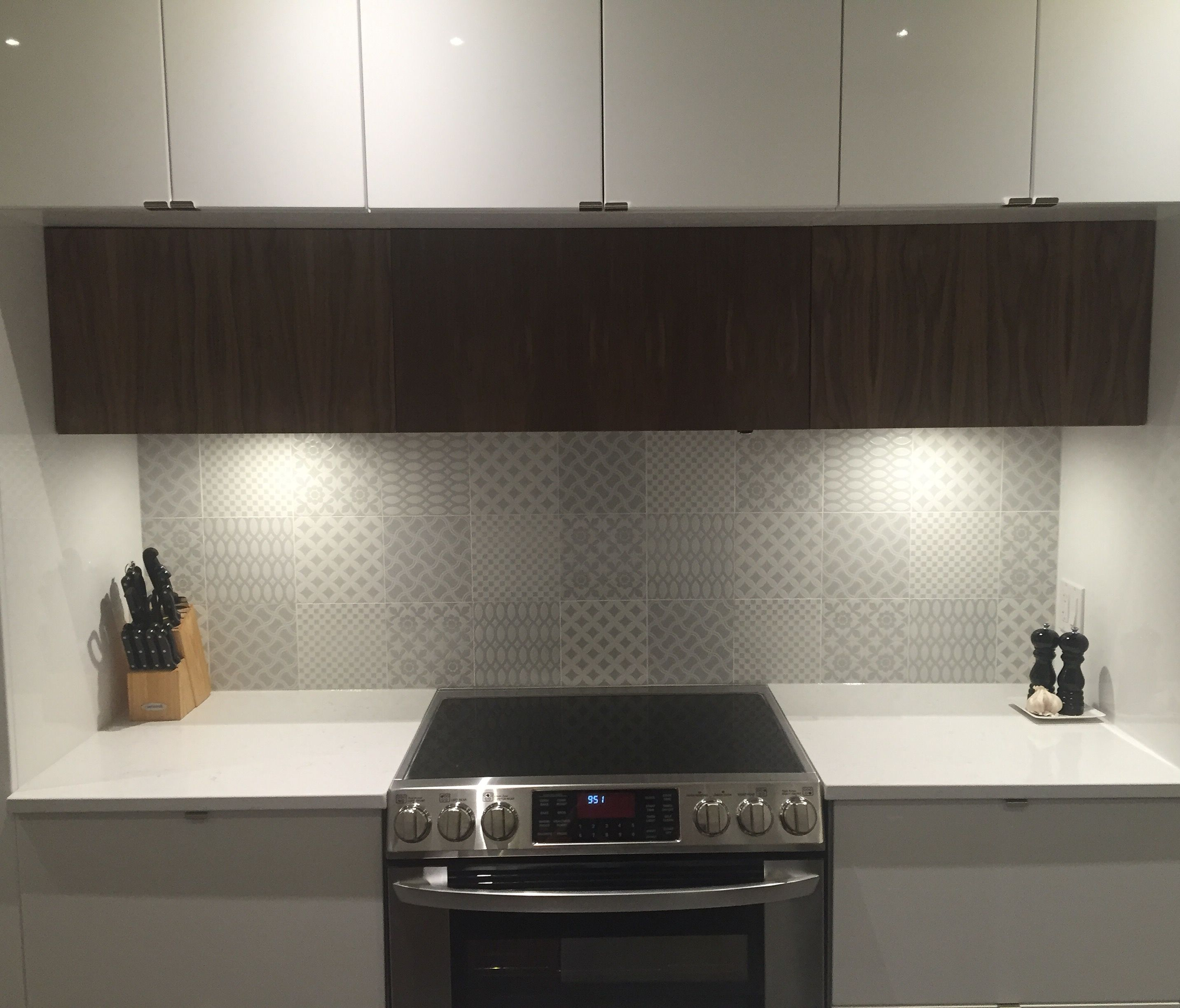 Our Grey-white porcelain Tagina mixed pattern tiles, installed for ...
