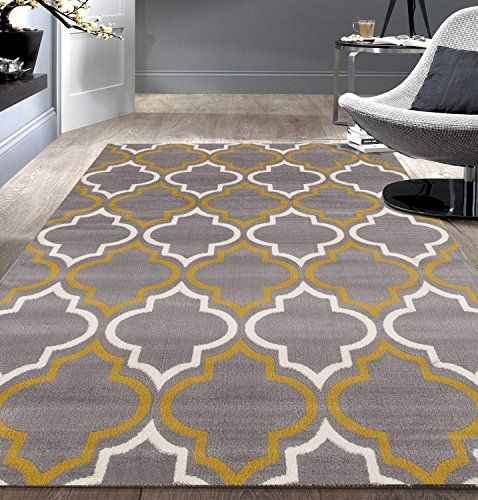 Modern Moroccan Trellis Gray-Yellow 5' X 7' Area Rug Rugshop…