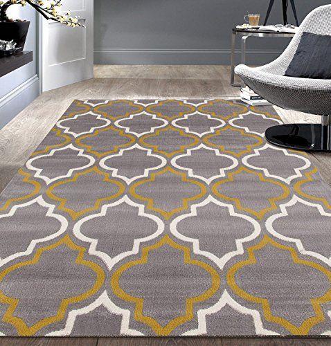 Modern Moroccan Trellis Gray-Yellow 5' X 7' Area Rug Rugshop…