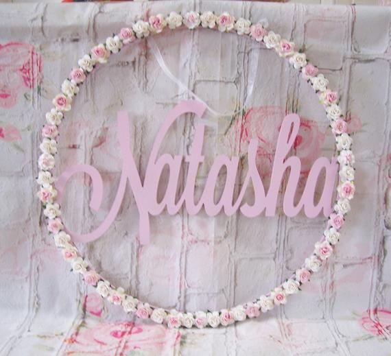 Photo of 70cm Flower Name Hoop Wreath Personalized Hoop