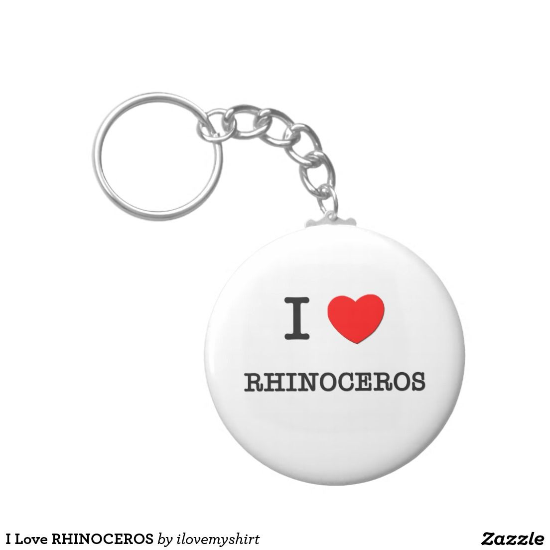 I Love RHINOCEROS Basic Round Button Keychain