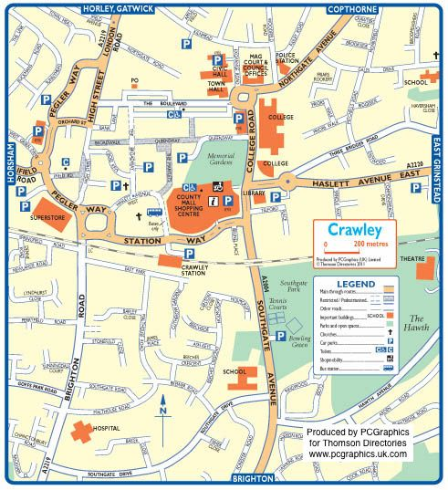 Map of Crawley created in 2011 for Thomson Directories One of