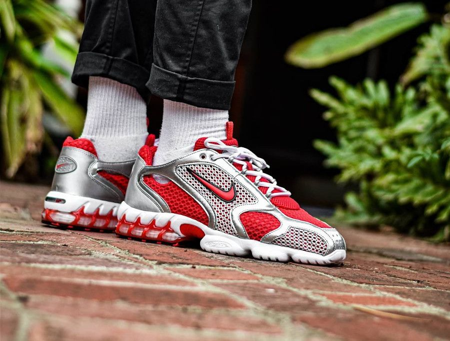 STUSSY X Nike W Air Zoom Spiridon Cage 2 Cardinal Red White CD3613-60 Women's Men's Size Sneakers Fa