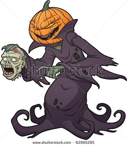 Scary Pumpkin Cartoon Scary Halloween Pumpkin Monster Holding A