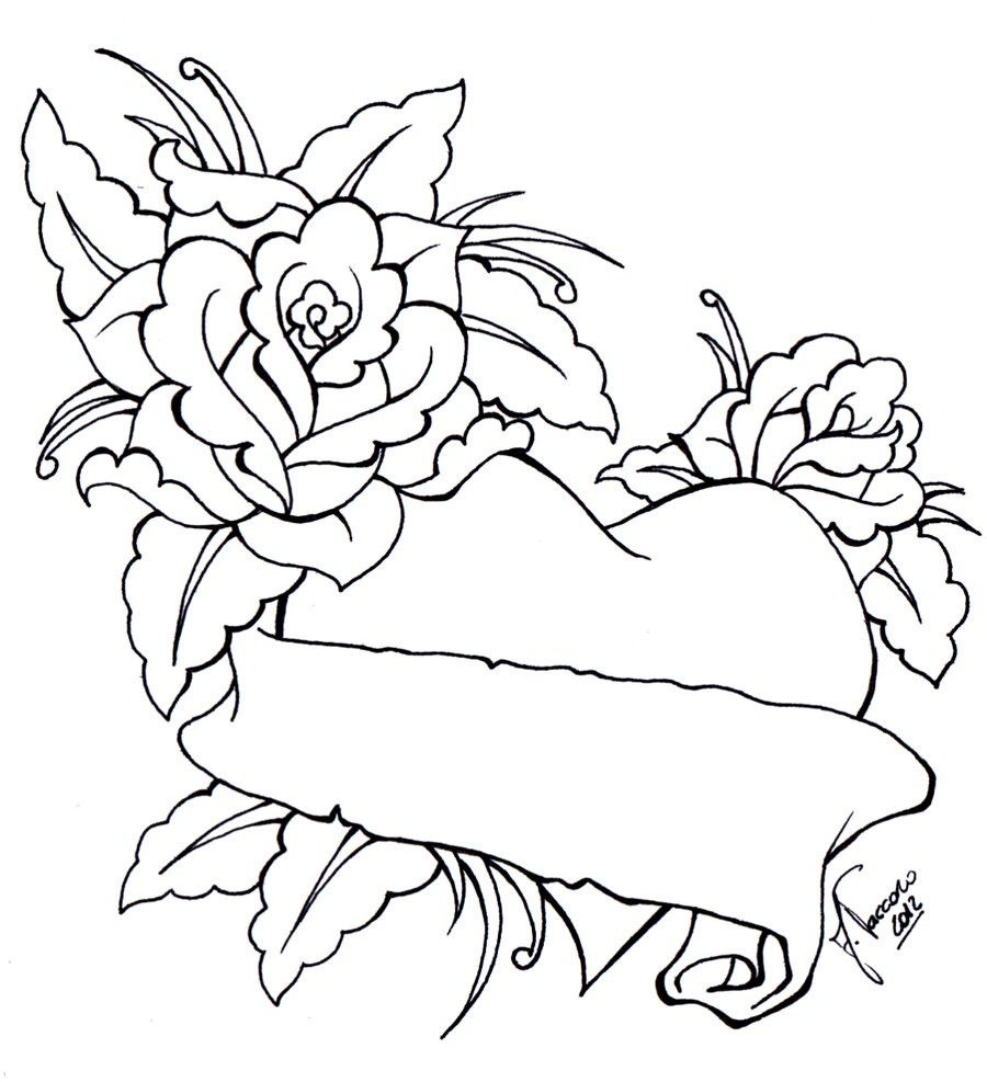 Cool Heart Drawings With Roses 3 Decoration Heart Drawing Flower Coloring Pages Coloring Pages