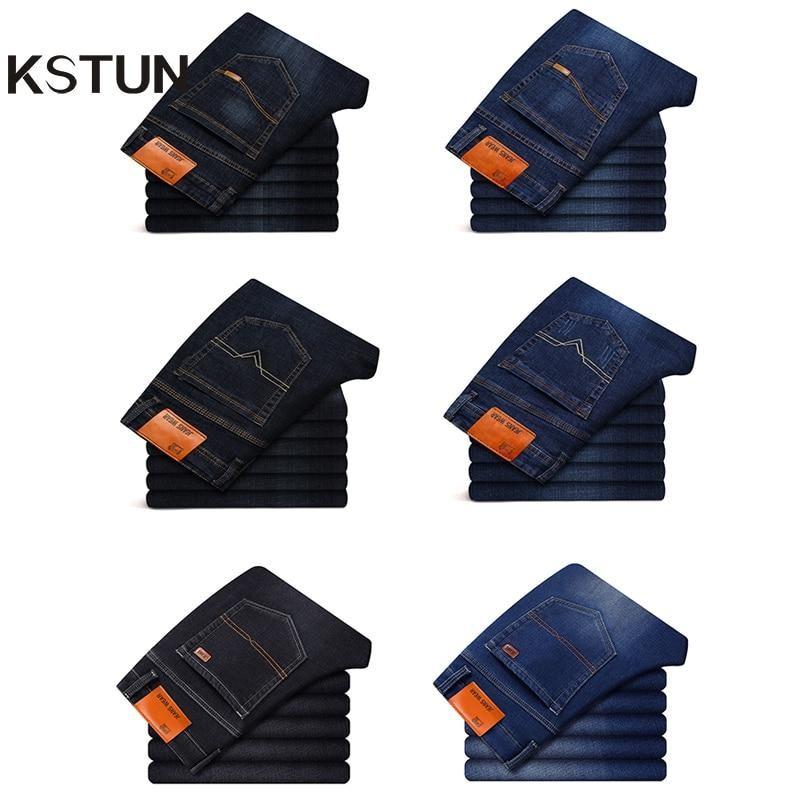 Kstun men jeans business casual straight slim fit blue