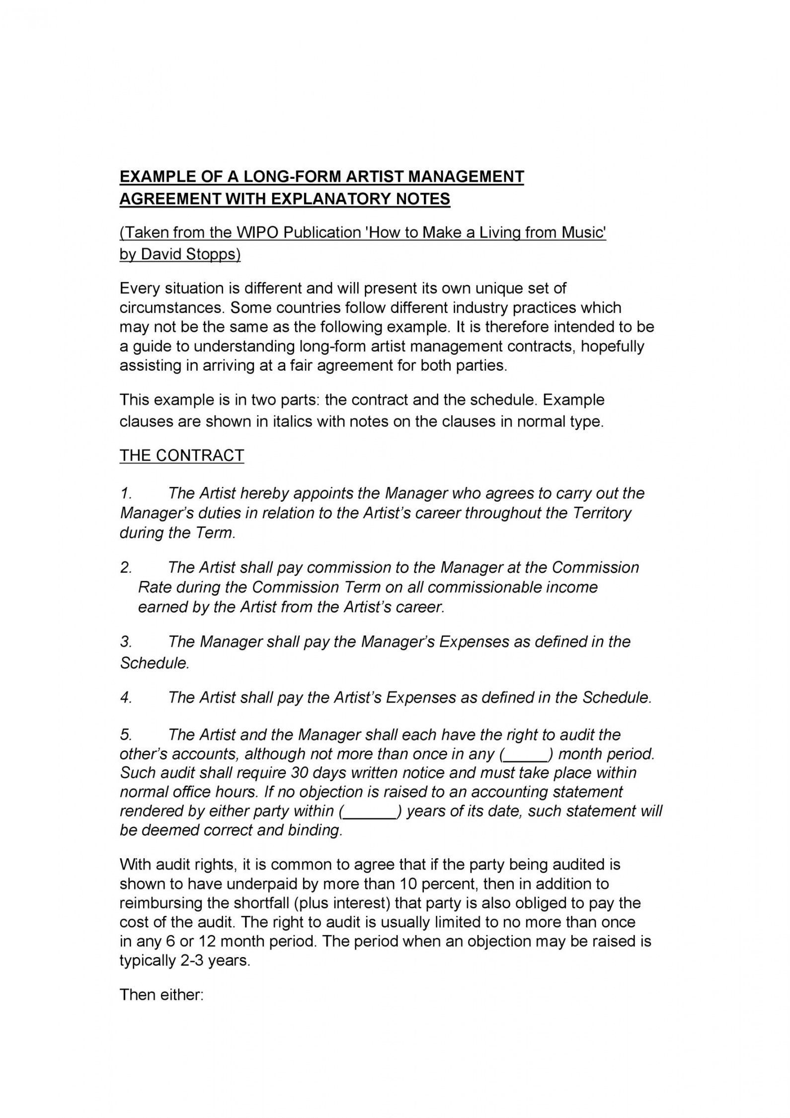 Music Management Contract Template Contract Template Contract Agreement Artist Management Artist management contract template pdf