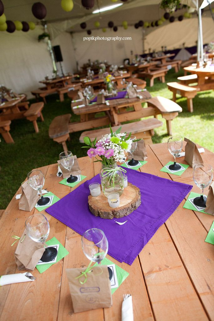 Purple And Lime Outdoor Wedding Decor