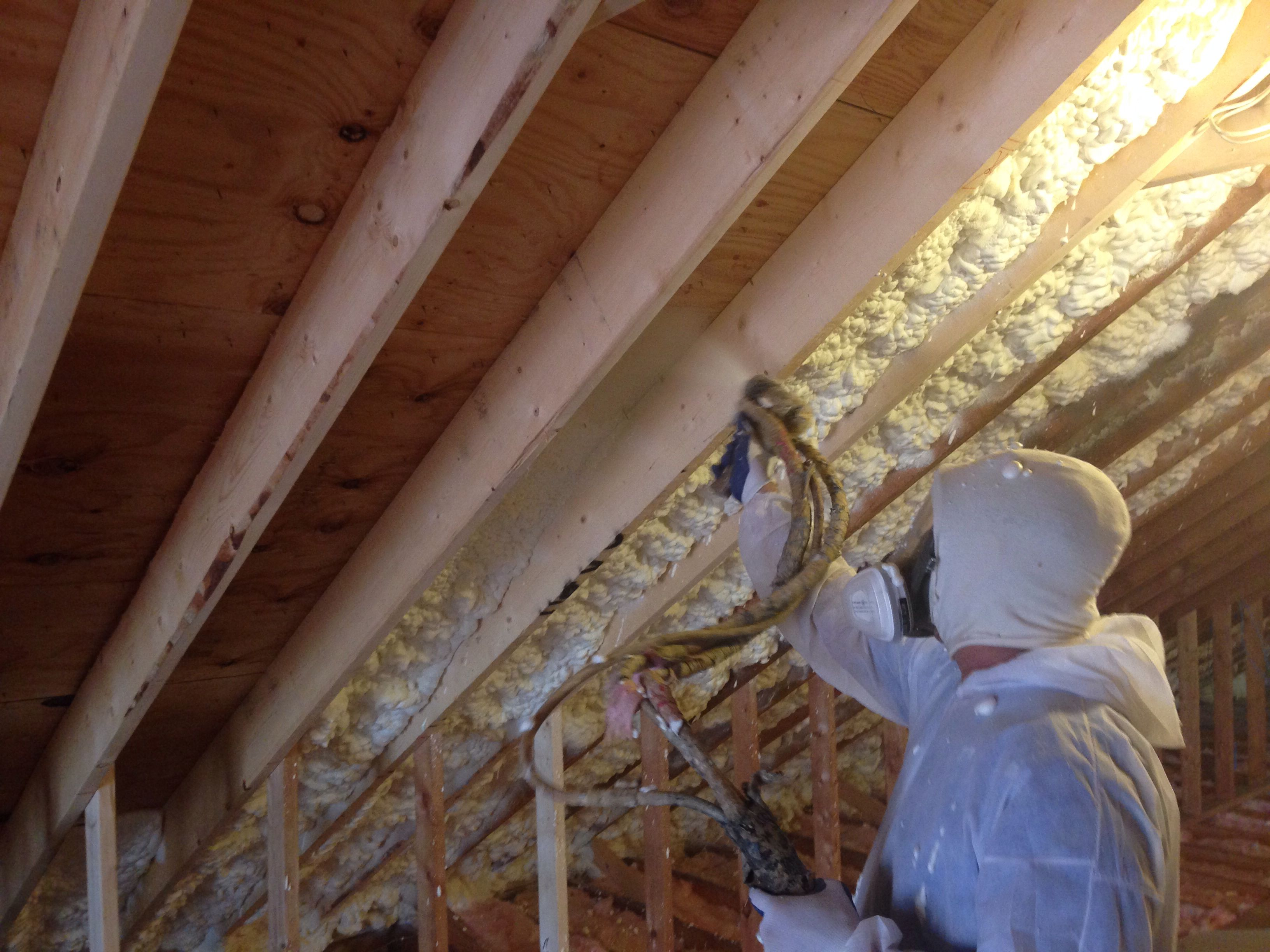 Open Cell Spray Foam Insulation On The Roof Deck