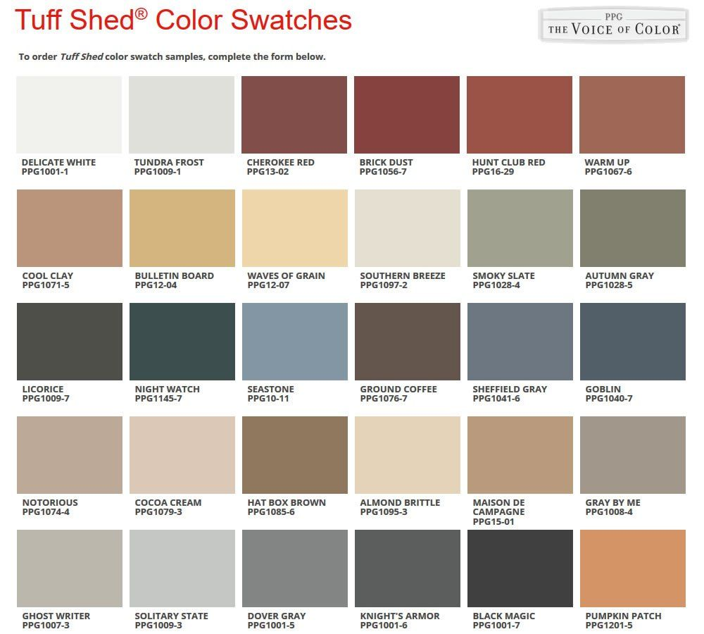 Tuff Shed Paint Swatches   Selecting a Premier Lean To from Tuff ...