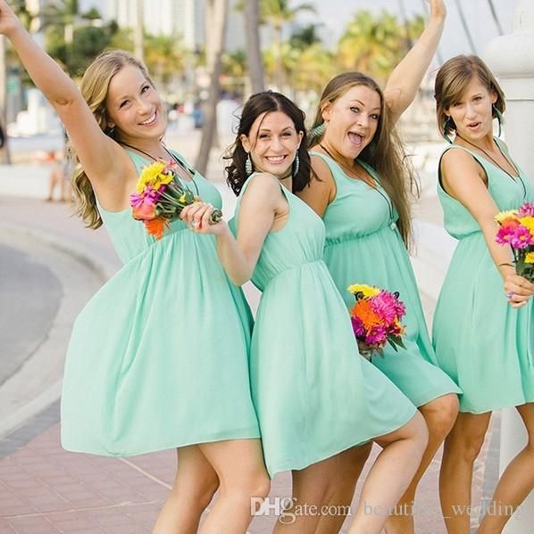 Mint Green Short Bridesmaid Dresses V Neck Tank Sleeveless A Line ...