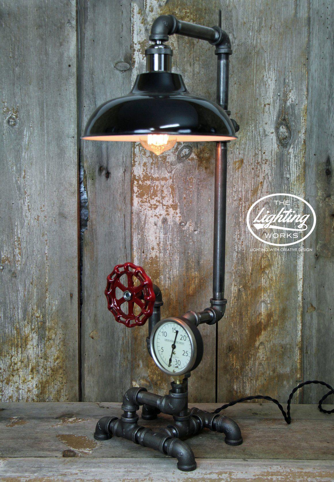 Industrial Table Lamp With A Vintage American Radiator Gauge Industriele Verlichting Industriele Lampen Verlichting