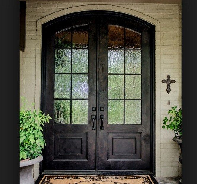 Interior Rustic Wood Front Doors With Glass Design