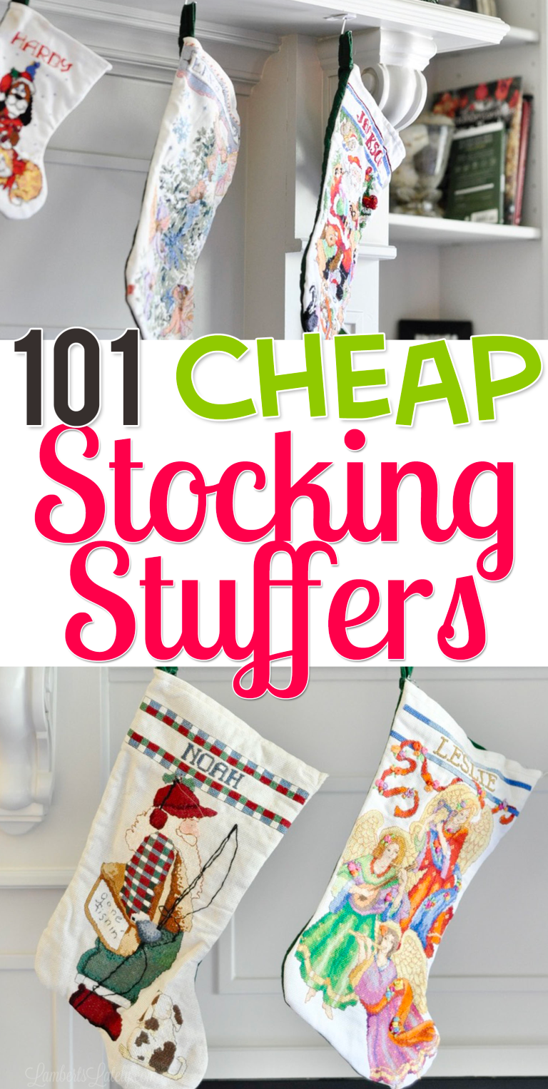 101 Cheap Stocking Stuffers for Everyone #stockingstuffers This list of over 100 cheap stocking stuffers has lots of ideas for babies, toddlers, adult men, women, teens, and kids (girls & boys). There's even a section of small, inexpensive DIY gifts! #stockingstuffersformen