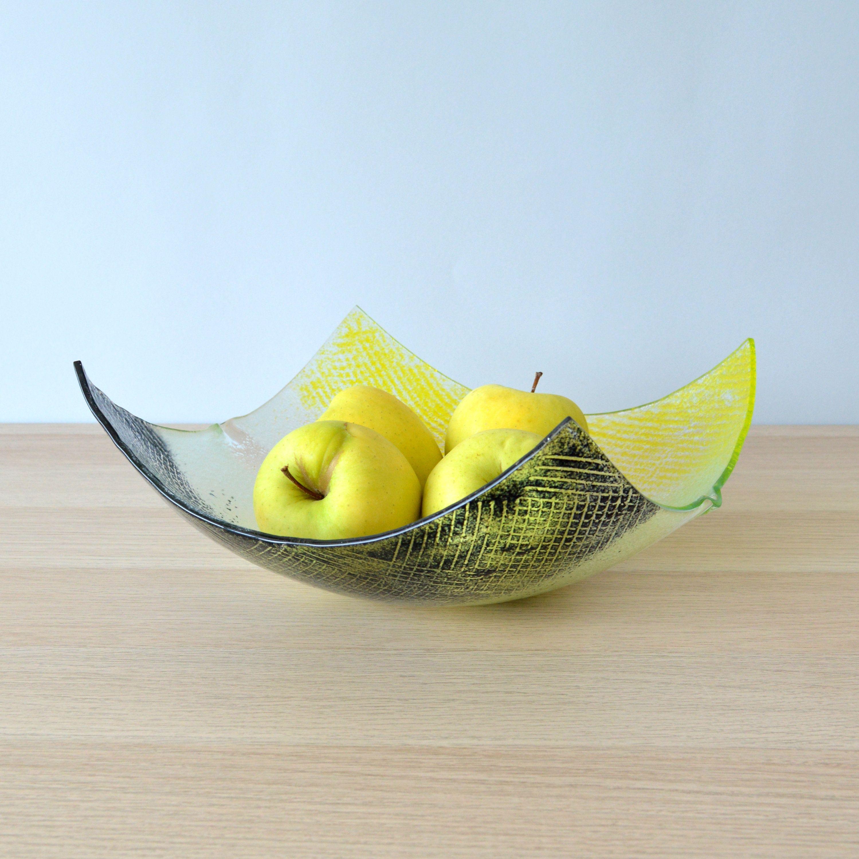 Modern Minimalist Fused Glass Fruit Bowl Centerpiece Salad Etsy Glass Fruit Bowl Fused Glass Bowl Glass Bowl