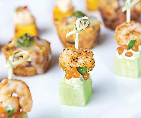 Shrimp Skewer Is Served With Bloody Mary Pearls From A Spice Of