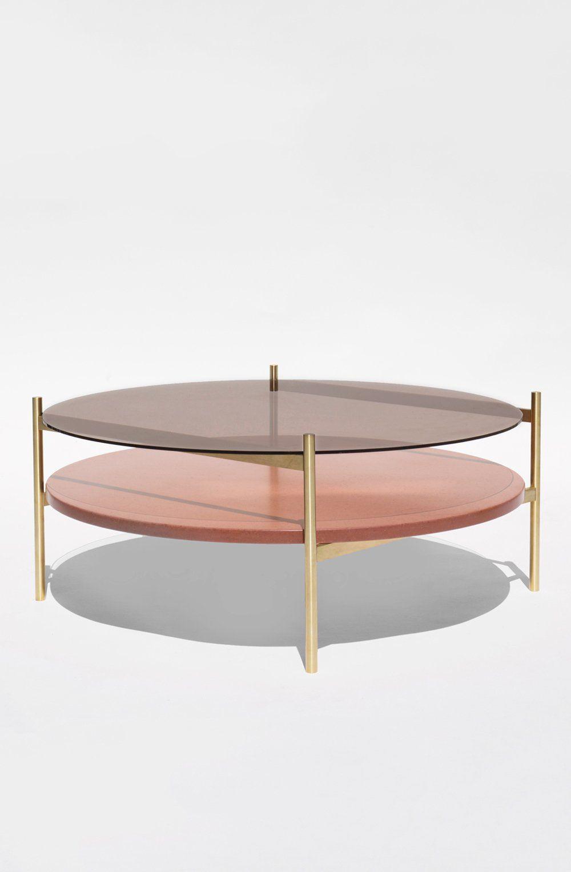 Duotone Circular Coffee Table Brass Frame Bronze Glass Rust Mosaic Circular Coffee Table Brass Coffee Table Coffee Table [ 1527 x 1000 Pixel ]