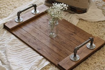 Rustic Tray Wooden Ottoman Coffee Table