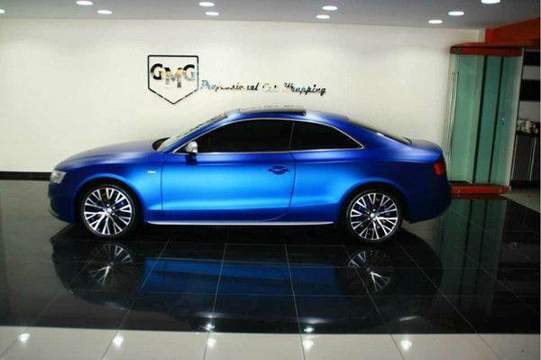 2017 Chrome Matte Vinyl Metallic Matte Blue Car Wrapping ...