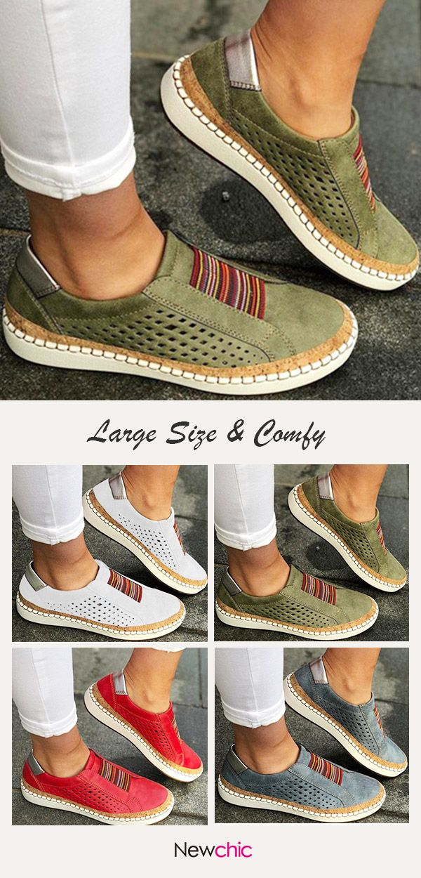 Photo of Large Size Women Breathable Hollow Splicing Flat Loafers.