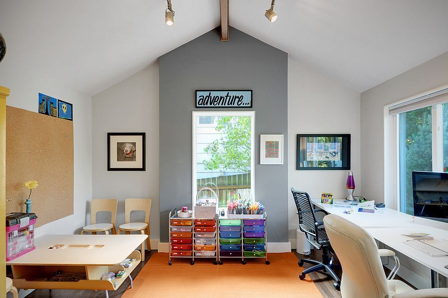 Multipurpose Magic Creating A Smart Home Office And Playroom Fascinating Living Room Office Ideas 2018