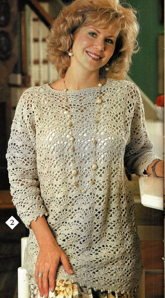 Crochet Sweater Pattern Easy Fan Lace Tunic Pattern Women Ladies