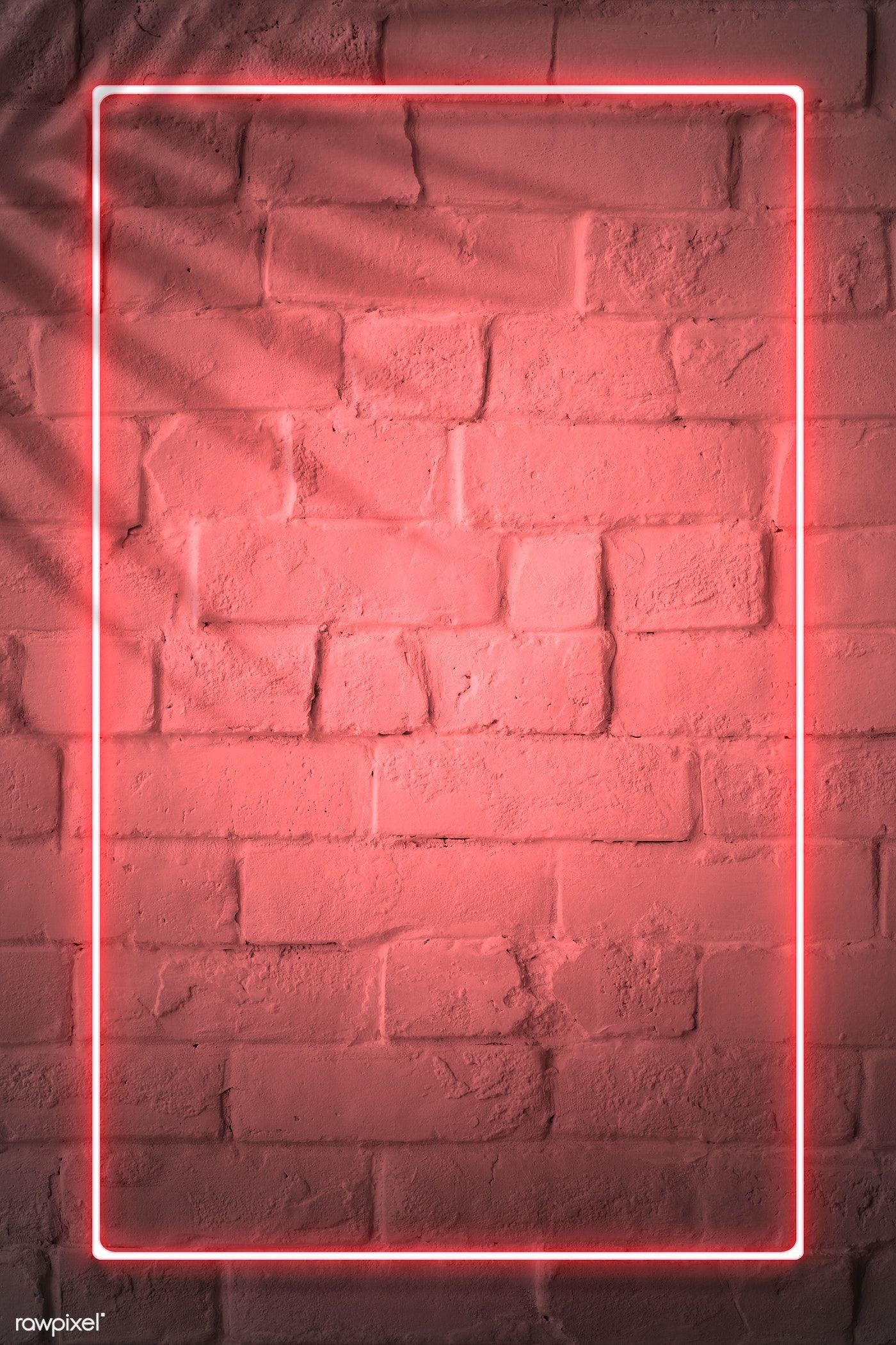 Download Premium Illustration Of Red Neon Lights Frame On A White Brick Fundo Para Banner Papel De Parede Grafico Bordas Para Fotos