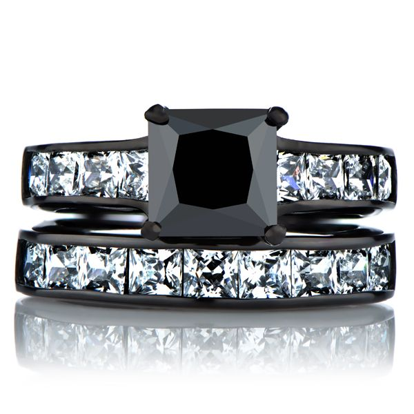 Ellyn's Black Wedding Ring Set - Faux Diamond $99.99 CLICK ...