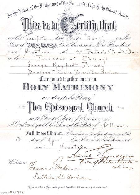George Keyports Brady  Margaret Clara Diantha Gordon Marriage