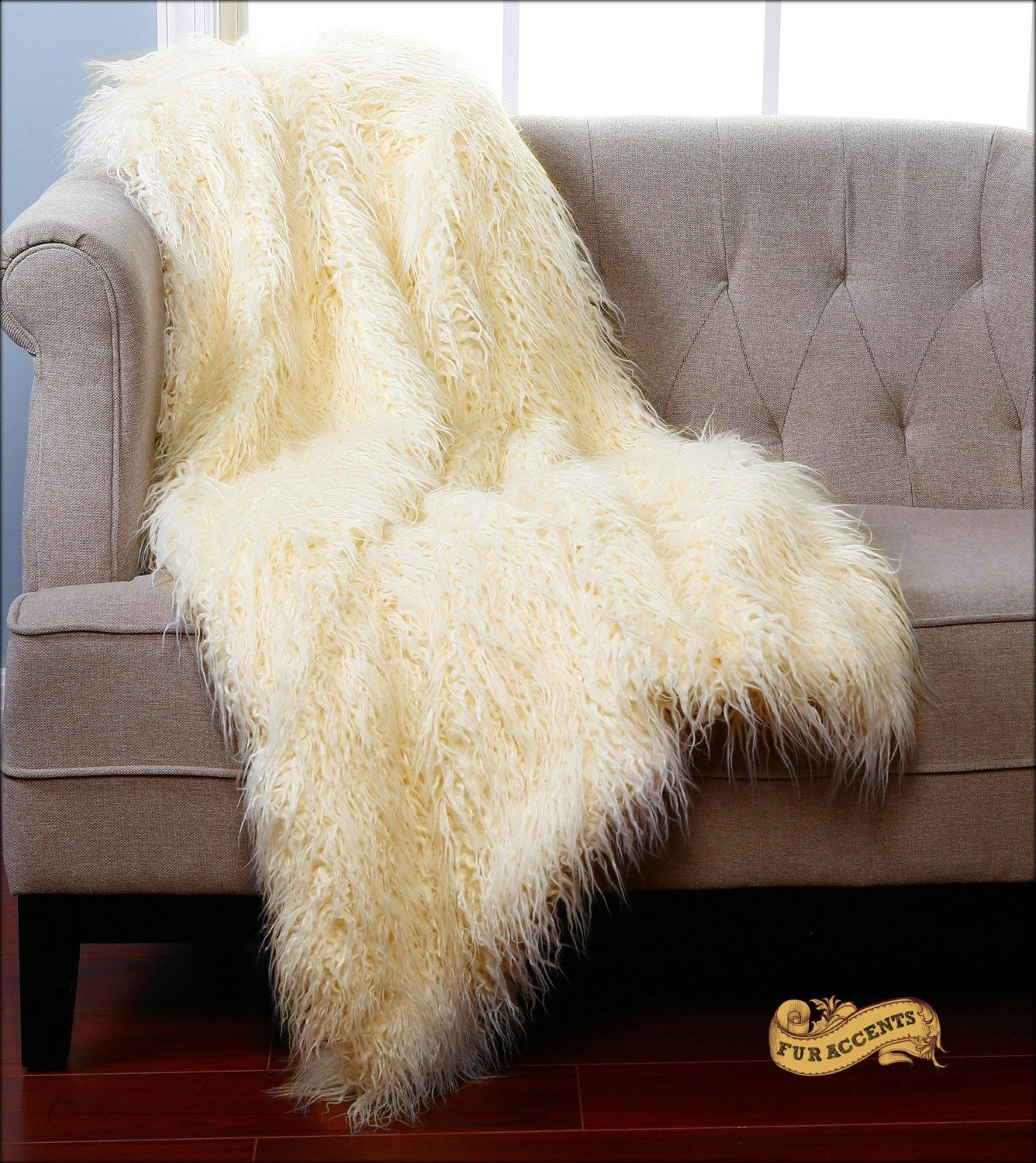 fur accents shaggy sheepskin throw blanket rug mongolian sheep