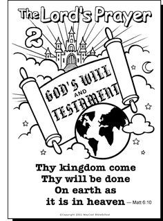 The Lords Prayer Coloring Page 2 God Bible Our Father