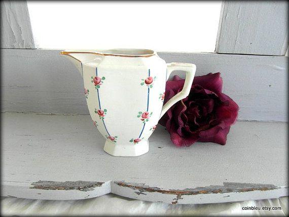 Digoin Sarregamines, French vintage porcelain creamer . Discount on multiple buys.