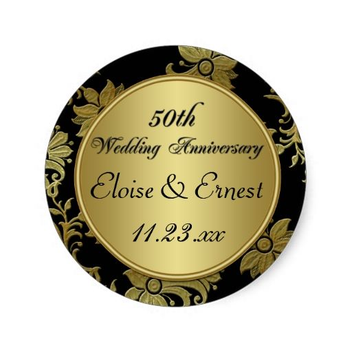 Black Gold 50th Wedding Anniversary Sticker Zazzle Com 50th Wedding Anniversary 50th Wedding Gold Wedding Invitations Design