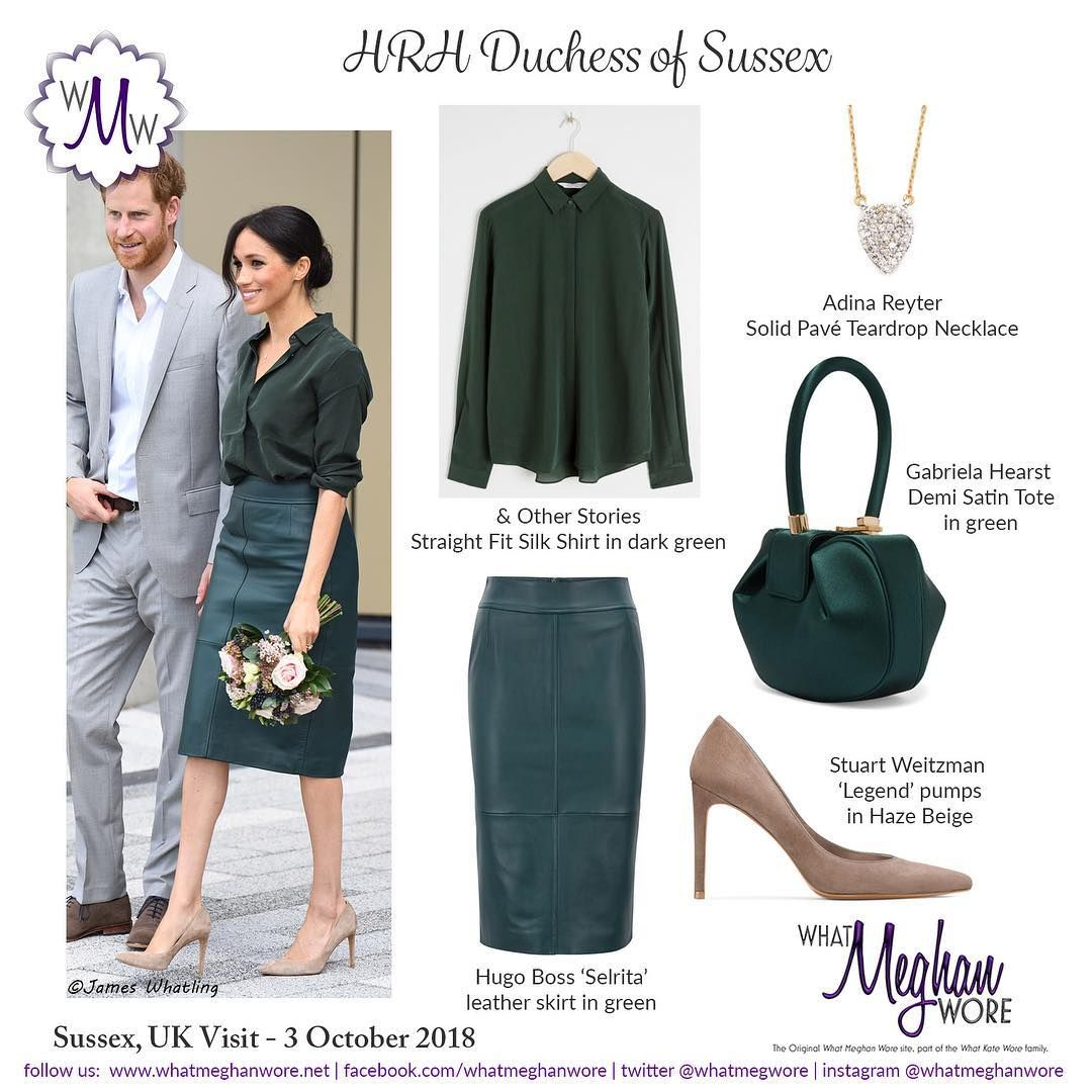 Meghan Wore A Cream Cashmere Coat From Giorgio Armani A Silk Dark Green Shirt By Other Stories A Green Le Meghan Markle Outfits Meghan Markle Style Fashion