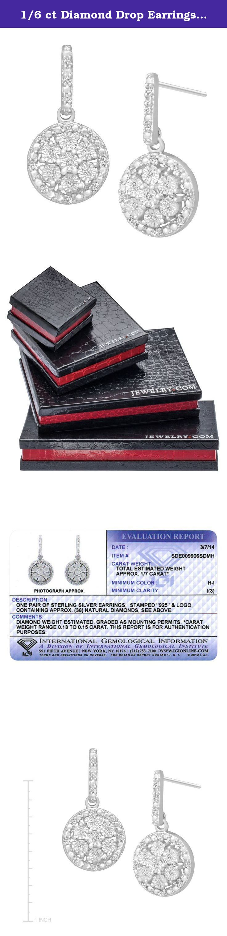 1/6 ct Diamond Drop Earrings in Sterling Silver. Shimmer with these diamond earrings, destined to be your forever favorite. Medallions of round-cut diamonds totaling 1/6 ct are set in sterling silver. Pieces measure 3/4 by 3/8 inches.