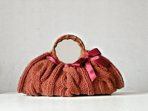 shop knitting bags   Women's Knit tote bag handmade bag accessories Knitted by NzLbags, $87 ...