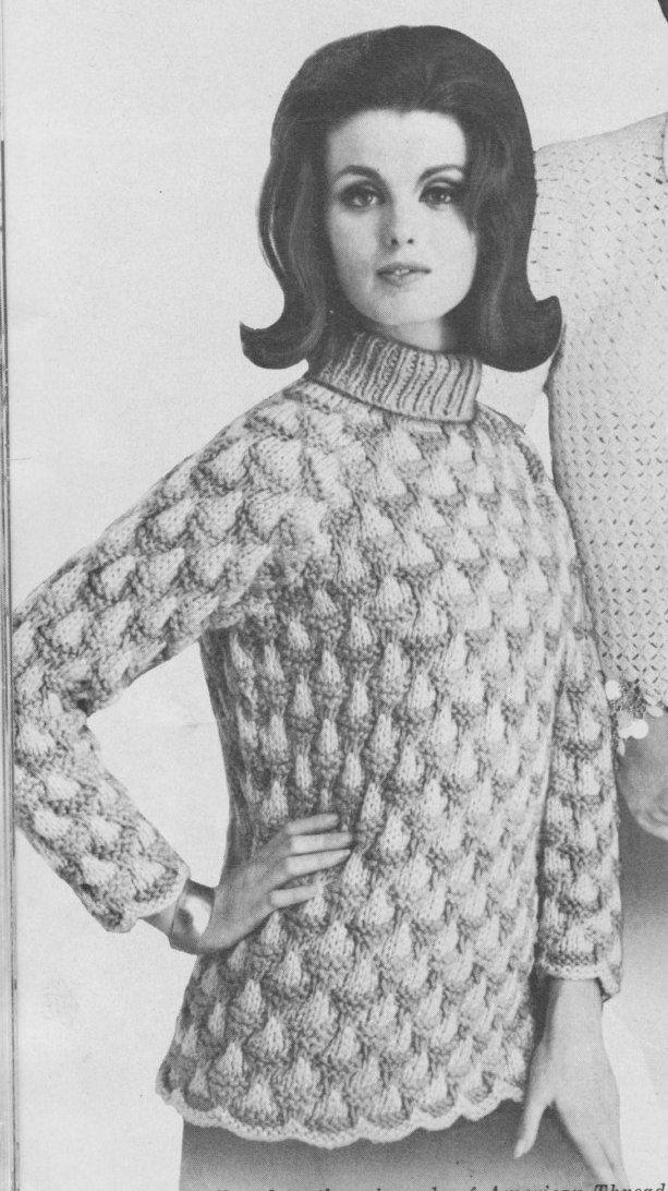 PDF Scalloped Sweater Knitting Pattern, Scalloped Turtleneck Pattern ...