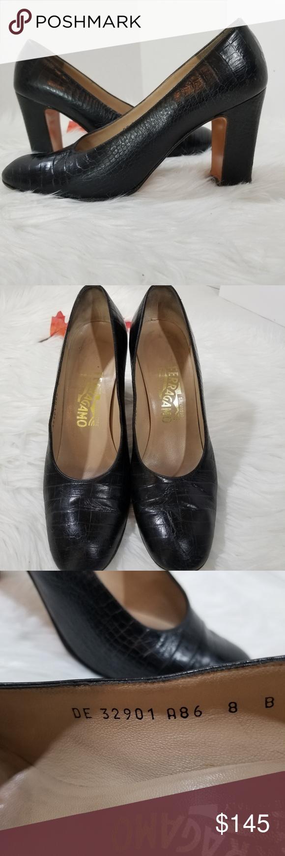 9000874a6855 Salvatore Ferragamo croc embossed block heels Salvatore Ferragamo croc embossed  block heels. Black