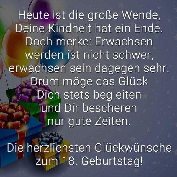 Geburtstagsgrusse Zum 18ten New Spruche Zum 18 Geburtstag Freche Und Lustige Gratulieren Geburtstagsgeschenk Birthday Quotes 18th Birthday Happy Birthday Kids