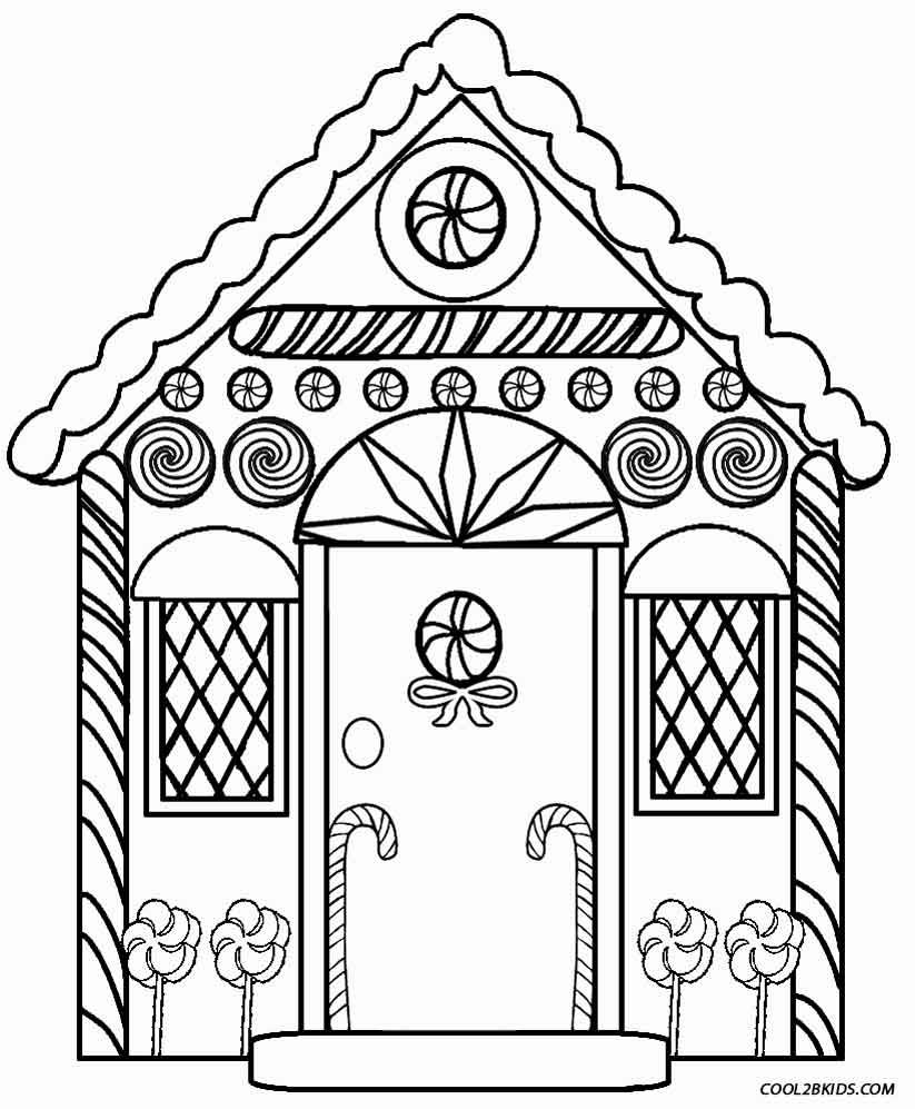 Detailed Gingerbread House Coloring