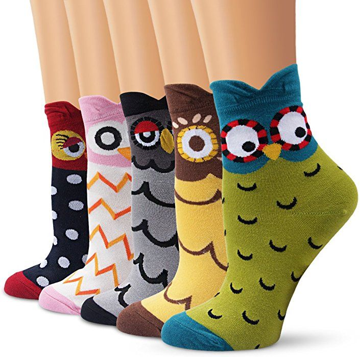 37248a4d2a6b0 Ambielly Women Socks Cute Animal Patterned Casual Cotton Socks (Owl ...