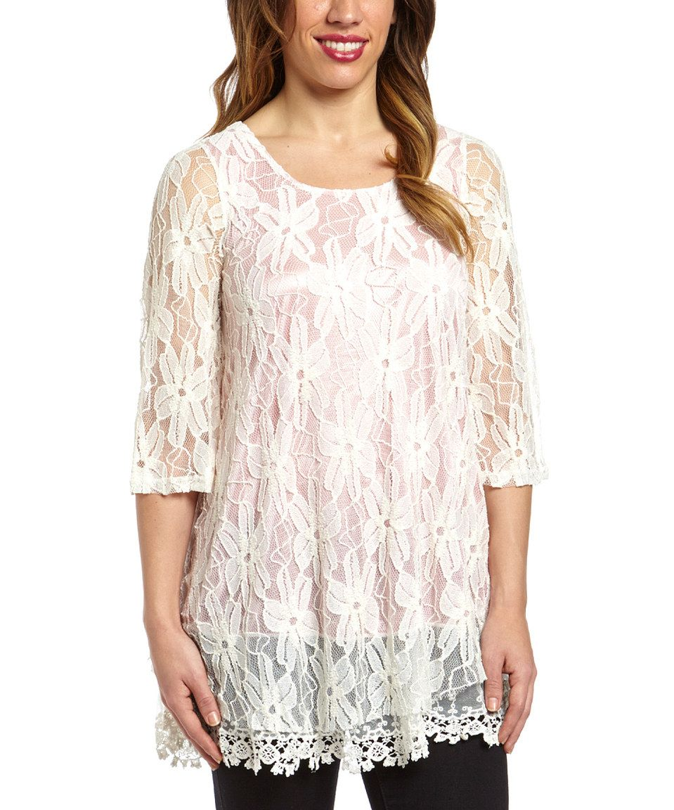 Loving this White & Pink Floral Tunic on #zulily! #zulilyfinds