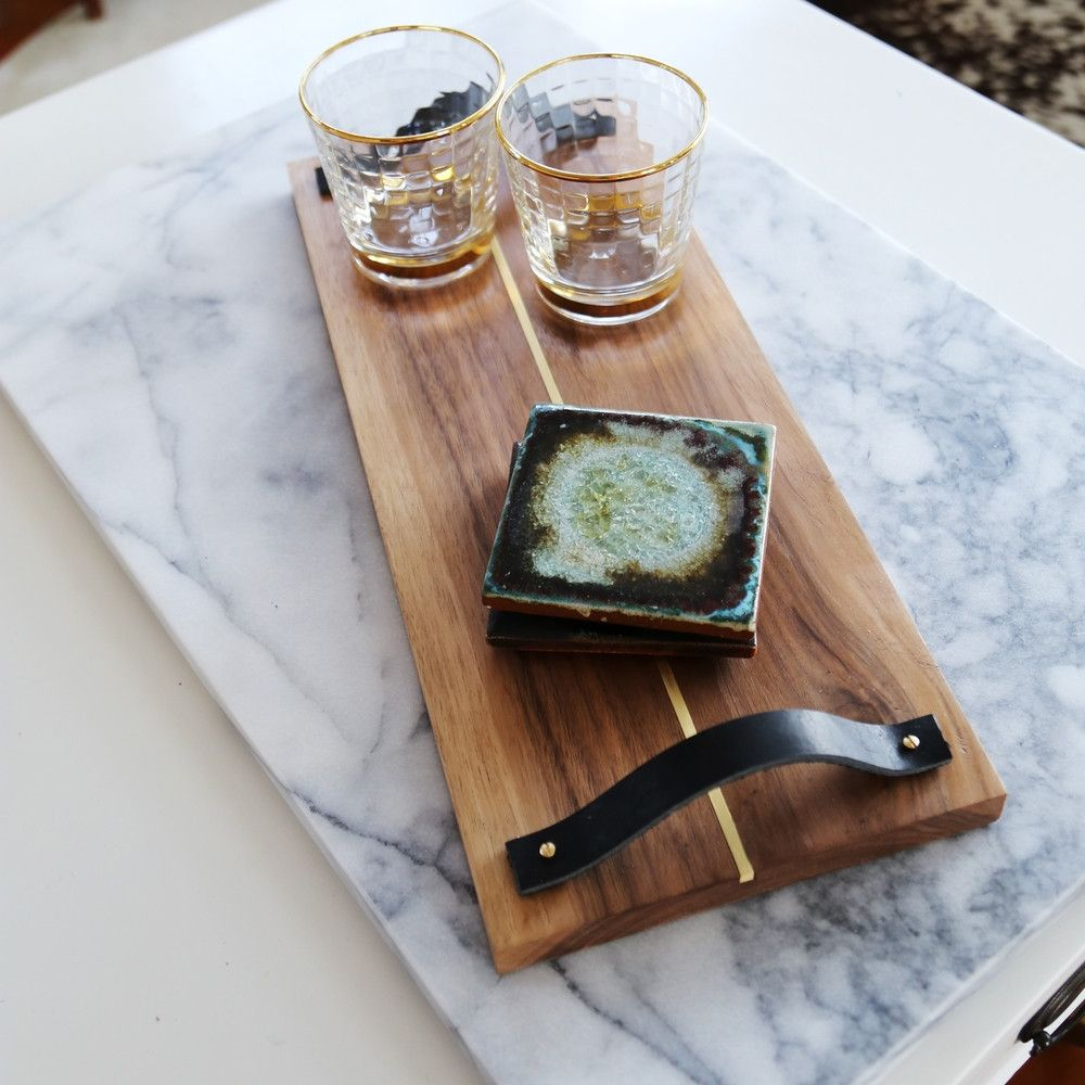 This gorgeous handmade walnut tray is winter cocktail ready!