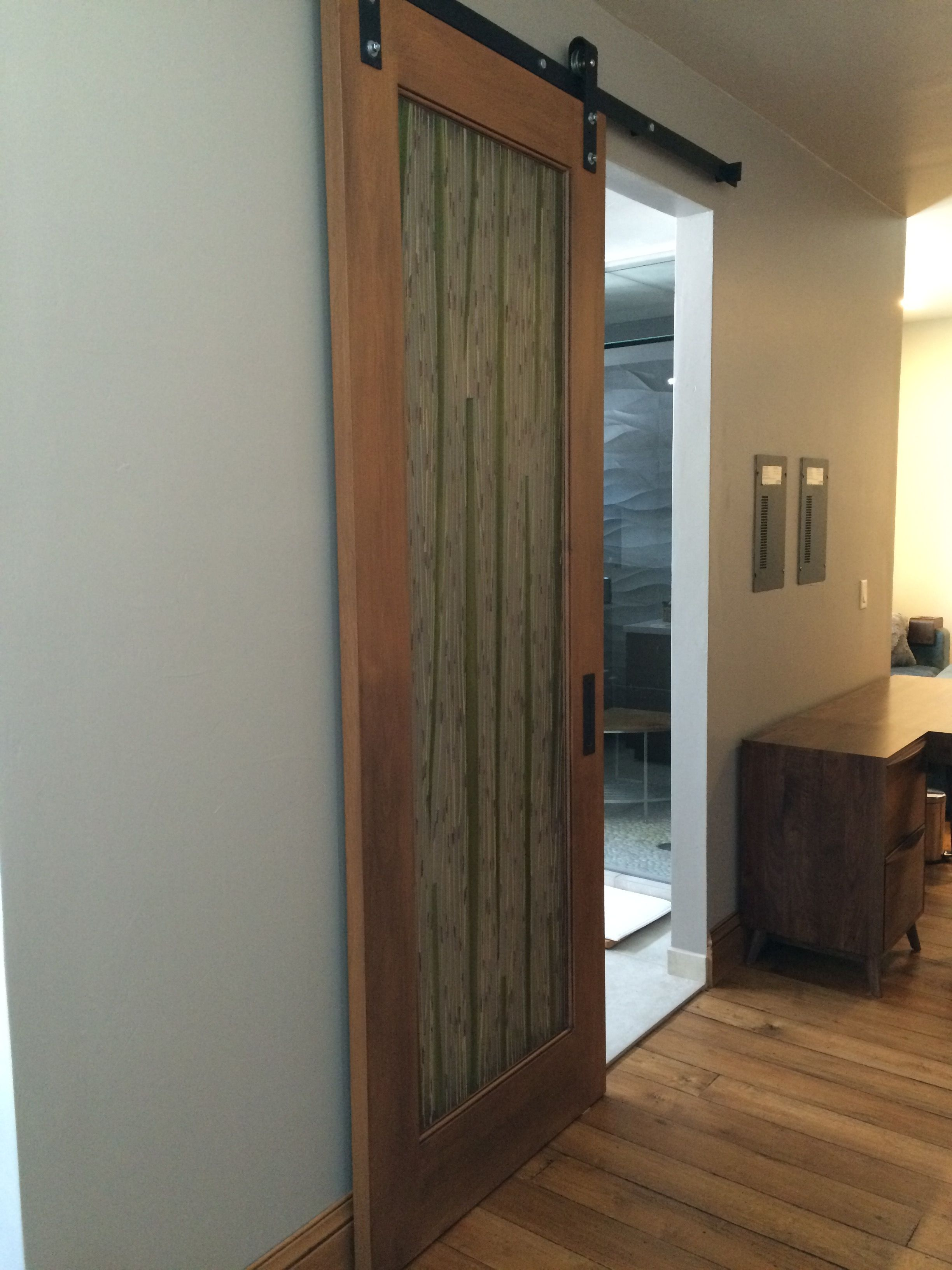 Bedroom Screen Door: Sliding Barn Door, 3-form Bamboo. Arcturus Studio Interior